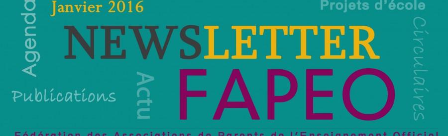 Newsletter Janvier 2016