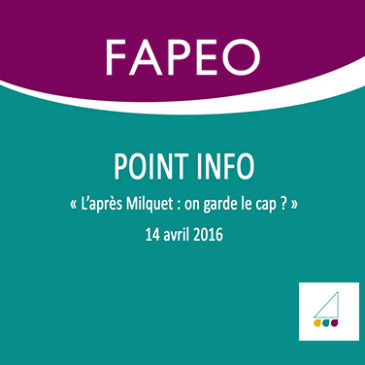 Point Info – 1/2016.  Démission de la Ministre de l'enseignement