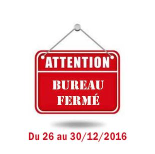 La FAPEO sera fermée du 26 décembre au 30 décembre inclus