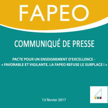 Communiqué de presse : Pacte pour un enseignement d'excellence – « Favorable et vigilante, la FAPEO refuse le surplace ! »