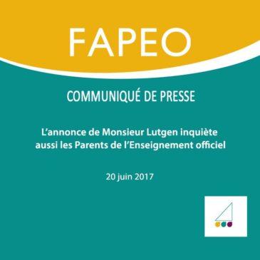Communiqué de presse : L'annonce de Monsieur Lutgen inquiète aussi les Parents de l'Enseignement officiel