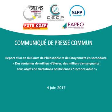 Communiqué de presse commun : Report d'un an du Cours de Philosophie et de Citoyenneté en secondaire.