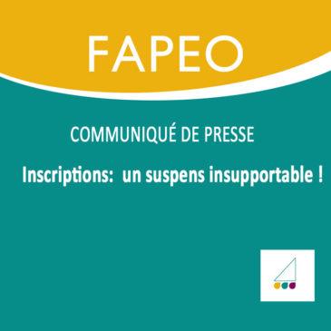 Communiqué de presse : Inscriptions : un suspens insupportable !