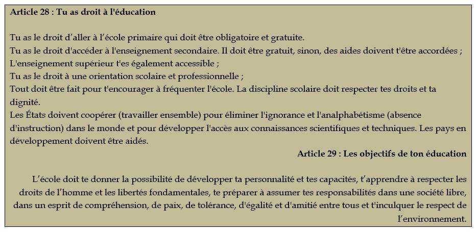 Article 28  Tu as droit à l'éducation