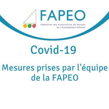 Covid-19 – Mesures prises par l'équipe de la FAPEO