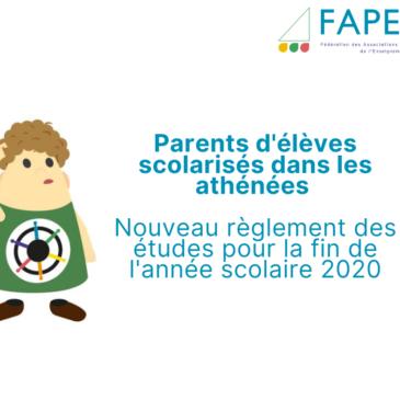 Parents d'élèves scolarisés dans les athénées WBE – Nouveau règlement des études pour la fin de l'année scolaire 2020