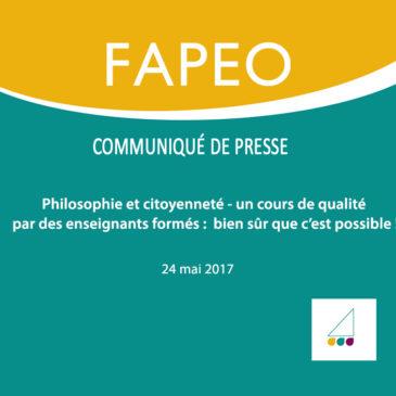Communiqué de presse : Philosophie et citoyenneté – un cours de qualité par des enseignants formés : bien sûr que c'est possible !