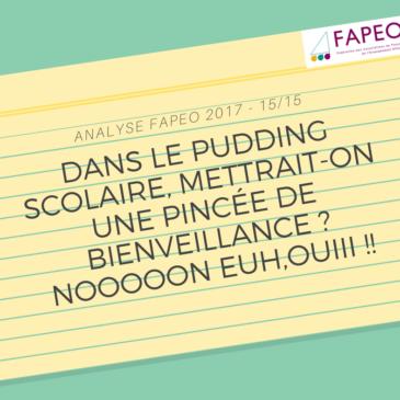 Analyse 2017 – 15/15: «Dans le pudding scolaire, mettrait-on une pincée de Bienveillance? Nooooon Euh, OUIII !!»
